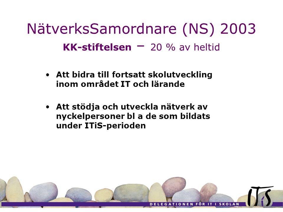 NätverksSamordnare (NS) 2003 KK-stiftelsen – 20 % av heltid Att bidra till fortsatt skolutveckling inom området IT och lärande Att stödja och utveckla