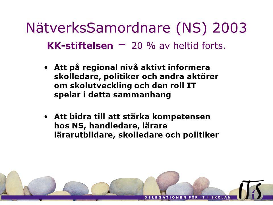 NätverksSamordnare (NS) 2003 KK-stiftelsen – 20 % av heltid forts. Att på regional nivå aktivt informera skolledare, politiker och andra aktörer om sk