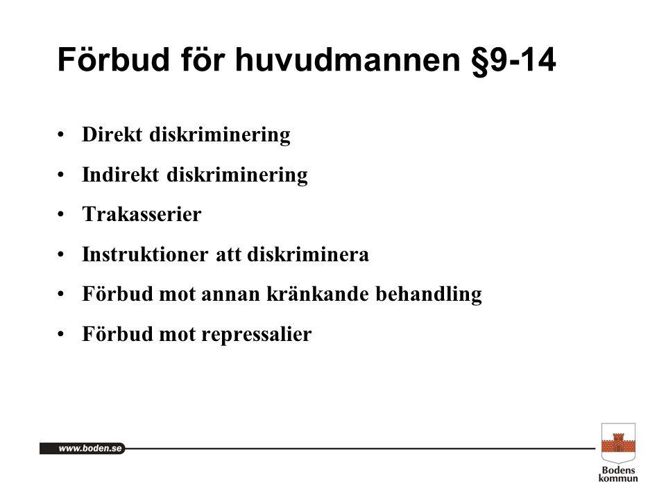 Förbud för huvudmannen §9-14 Direkt diskriminering Indirekt diskriminering Trakasserier Instruktioner att diskriminera Förbud mot annan kränkande beha