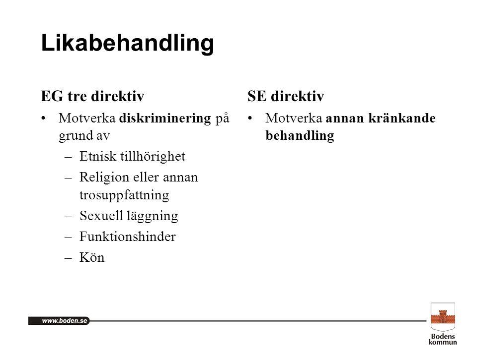 Likabehandling EG tre direktiv Motverka diskriminering på grund av –Etnisk tillhörighet –Religion eller annan trosuppfattning –Sexuell läggning –Funkt