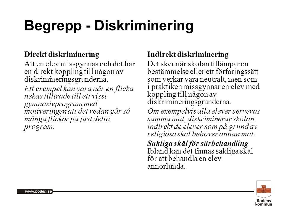 Begrepp - Diskriminering Direkt diskriminering Att en elev missgynnas och det har en direkt koppling till någon av diskrimineringsgrunderna. Ett exemp