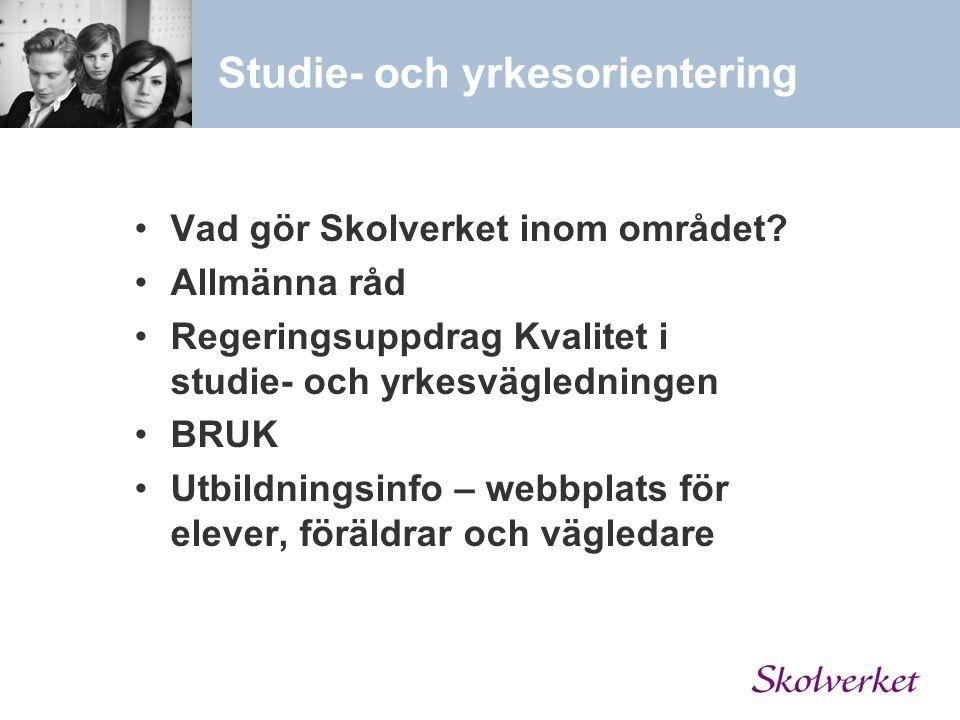 Studie- och yrkesorientering Vad gör Skolverket inom området? Allmänna råd Regeringsuppdrag Kvalitet i studie- och yrkesvägledningen BRUK Utbildningsi