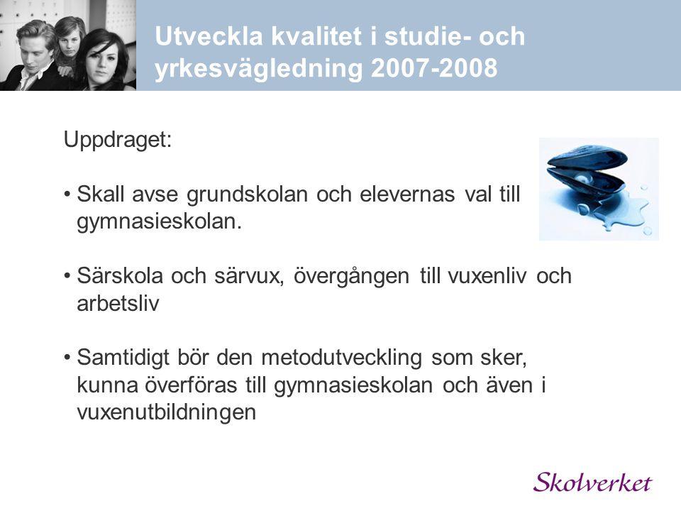 Utveckla kvalitet i studie- och yrkesvägledning 2007-2008 Uppdraget: Skall avse grundskolan och elevernas val till gymnasieskolan. Särskola och särvux