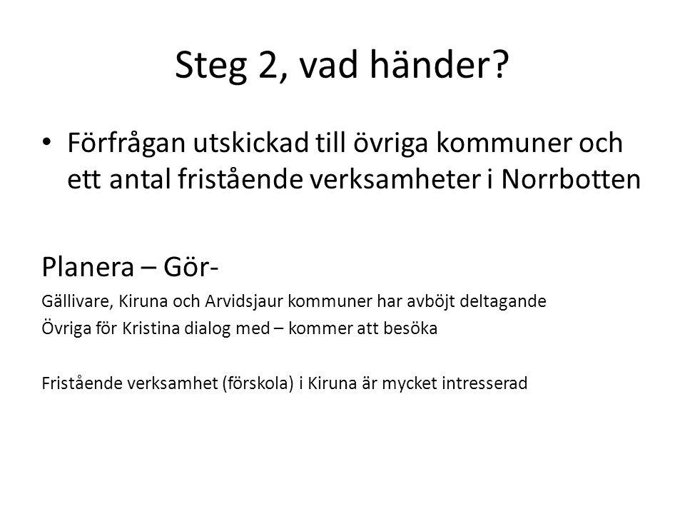 Steg 2, vad händer.
