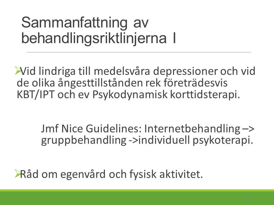 Sammanfattning av behandlingsriktlinjerna II  Vid lindriga till medelsvåra depressioner och vid de olika ångesttillstånden rek läkemedelsbehandling med antidepressiva i andra hand.
