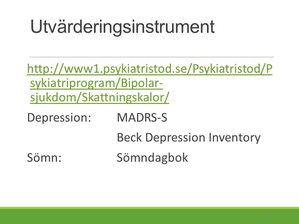 Utvärderingsinstrument http://www1.psykiatristod.se/Psykiatristod /Psykiatriprogram/Angestsyndrom/Skattnin gsskalor/http://www1.psykiatristod.se/Psykiatristod /Psykiatriprogram/Angestsyndrom/Skattnin gsskalor/ Generaliserat Ångestsyndrom (GAD): HAM-A Paniksyndrom: Beck Anxiety Inventory Social fobi: Social Anxiety Scale Tvångssyndrom (OCD): BOCS 35