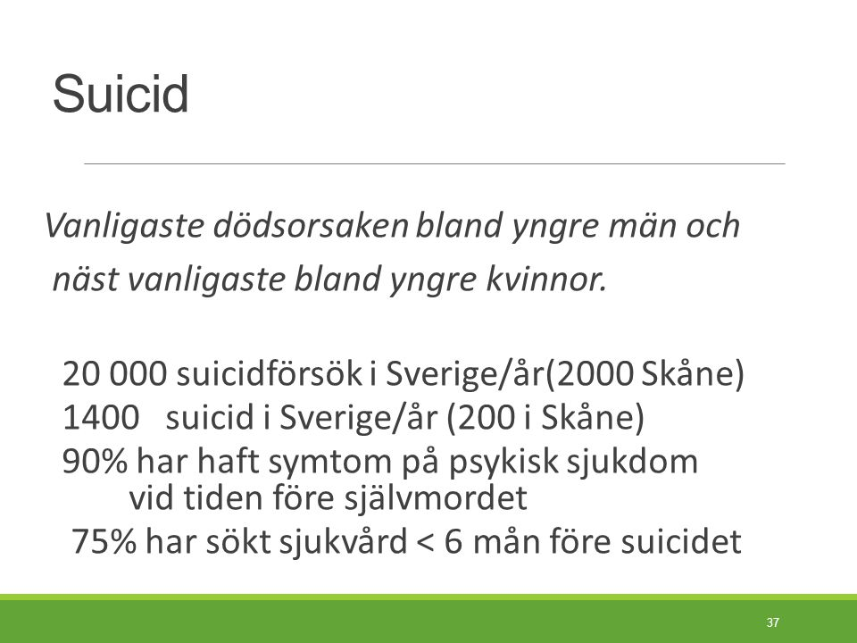 Riskfaktorer för suicid Tidigare suicidförsök.