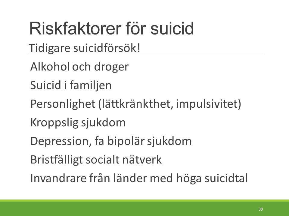 Skyddsfaktorer mot suicid Personliga värderingar: - motstånd mot suicid - religiös tro Ansvar för barn/familj Förmåga till nära relationer Rädsla för smärta Negativa konsekvenser av suicid 39