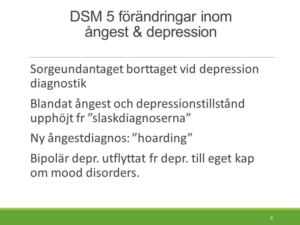 Nyhet: DSM screeningfrågor Självskattningsformulär med 23 frågor om psykiatriska symtom inom 13 domäner.