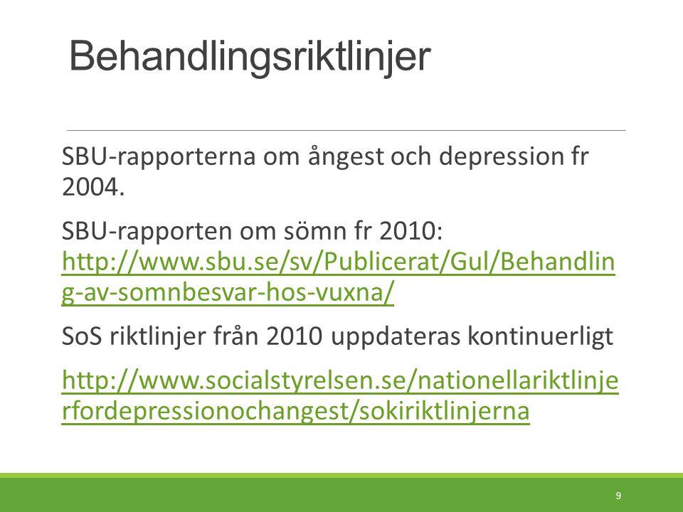 Sammanfattning av behandlingsriktlinjerna I  Vid lindriga till medelsvåra depressioner och vid de olika ångesttillstånden rek företrädesvis KBT/IPT och ev Psykodynamisk korttidsterapi.