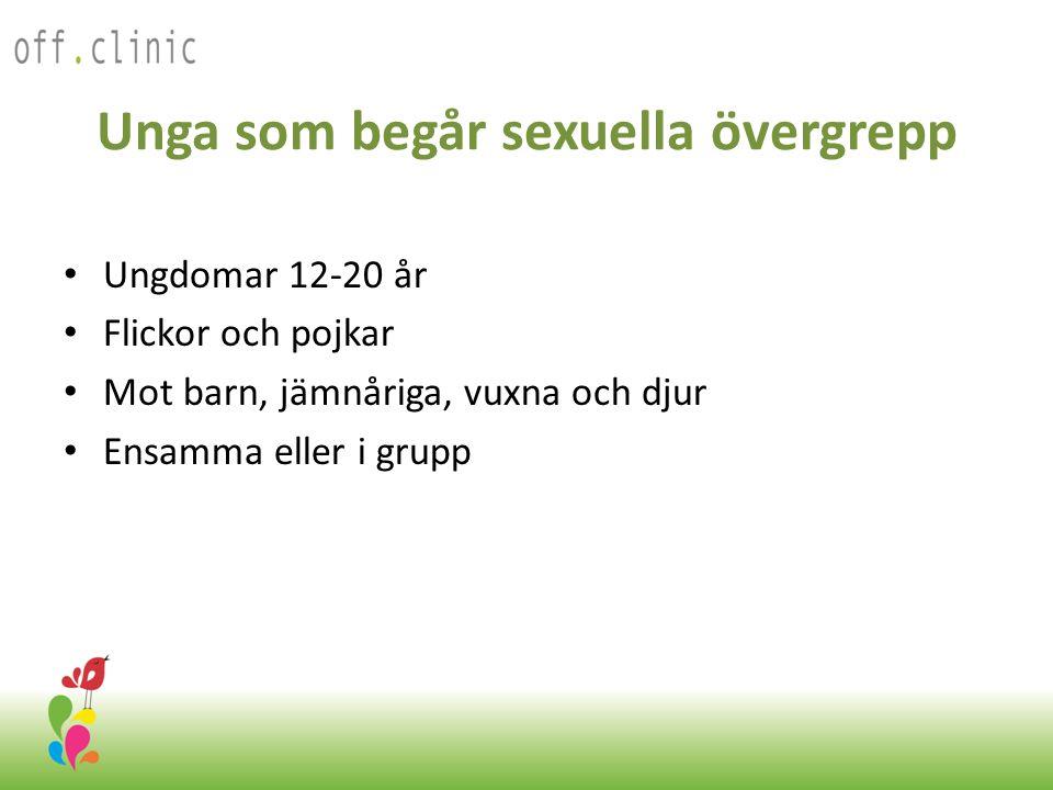 Unga som begår sexuella övergrepp Ungdomar 12-20 år Flickor och pojkar Mot barn, jämnåriga, vuxna och djur Ensamma eller i grupp Off.Clinic 2012