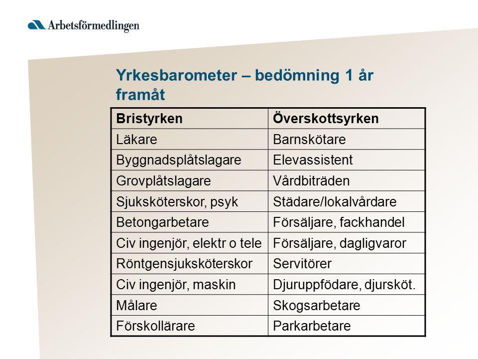 Yrkesbarometer – bedömning 1 år framåt BristyrkenÖverskottsyrken LäkareBarnskötare ByggnadsplåtslagareElevassistent GrovplåtslagareVårdbiträden Sjuksk
