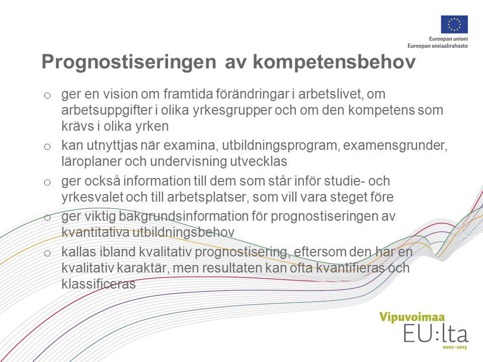 Ett projekt för prognostisering av kompetensbehov (VOSE) Utbildningsstyrelsen genomför med stöd av Europeiska socialfonden (ESF) ett riksomfattande tvåspråkigt projekt för prognostisering av kompetensbehov (VOSE) under tiden 1.6.2008–31.5.2011.