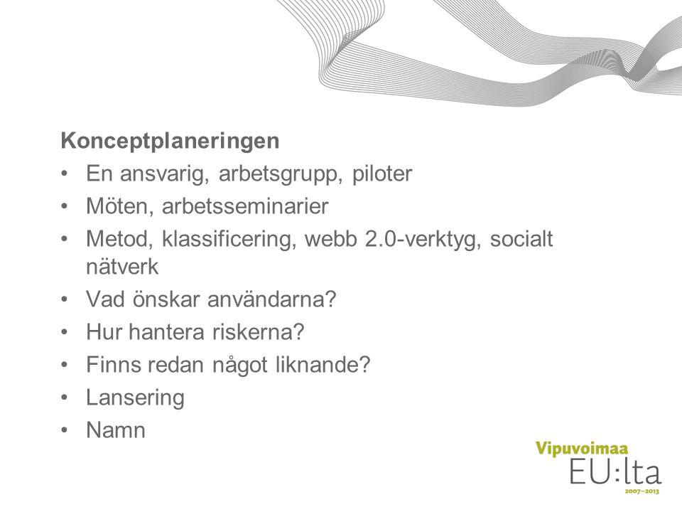 Konceptplaneringen En ansvarig, arbetsgrupp, piloter Möten, arbetsseminarier Metod, klassificering, webb 2.0-verktyg, socialt nätverk Vad önskar användarna.