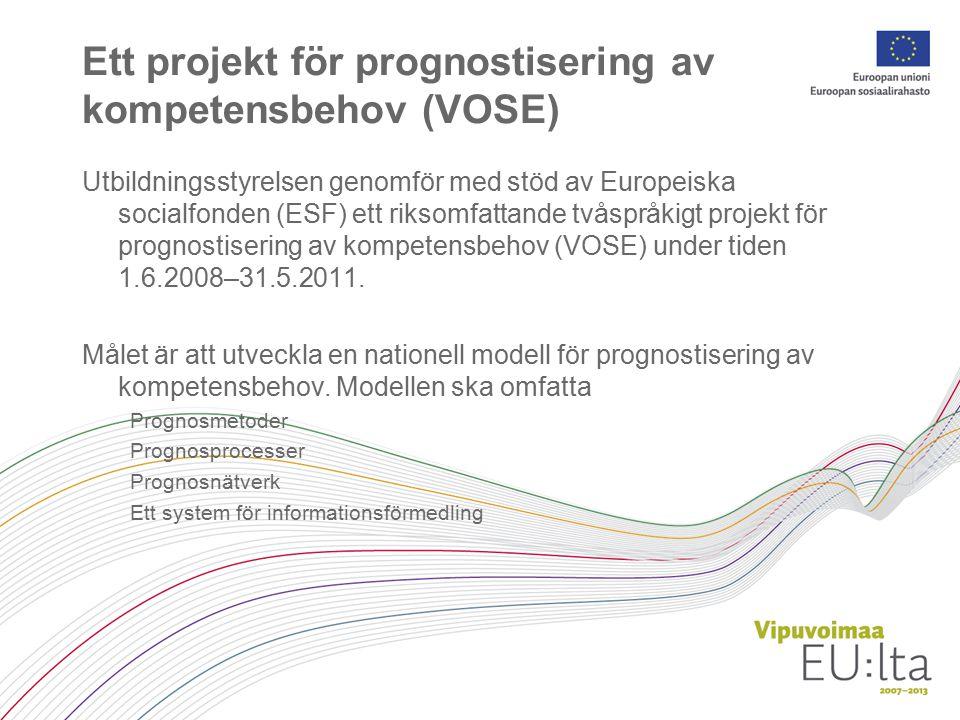 Prognosmodellen ska gälla yrkes-, yrkeshögskole- och universitetsutbildning utbildning för unga och vuxna behov på kort, medellång och lång sikt