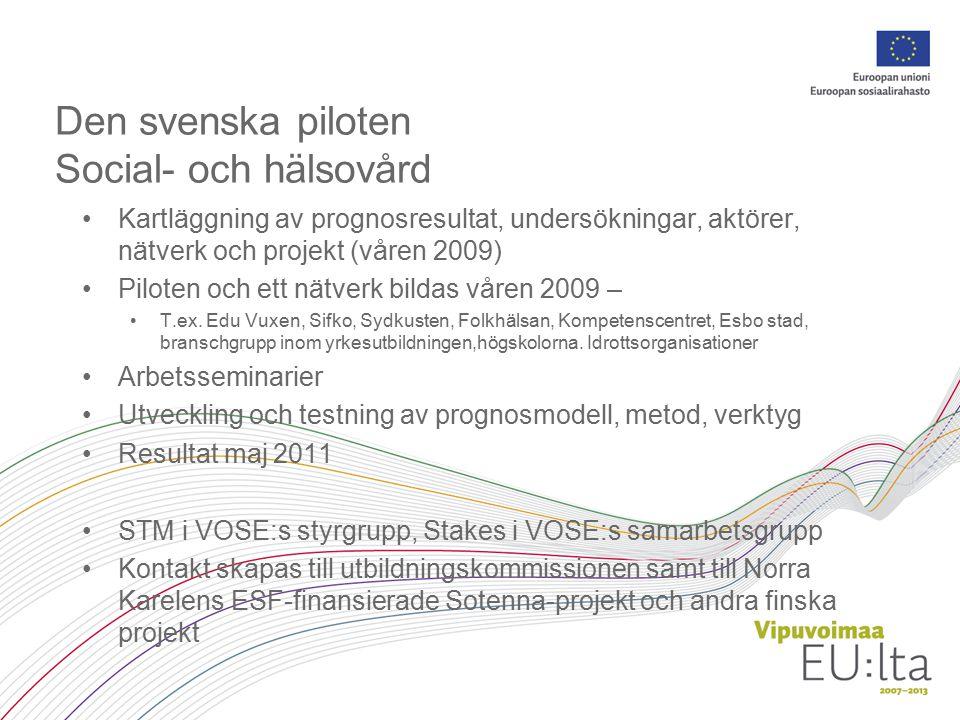 Den svenska piloten Social- och hälsovård Kartläggning av prognosresultat, undersökningar, aktörer, nätverk och projekt (våren 2009) Piloten och ett nätverk bildas våren 2009 – T.ex.
