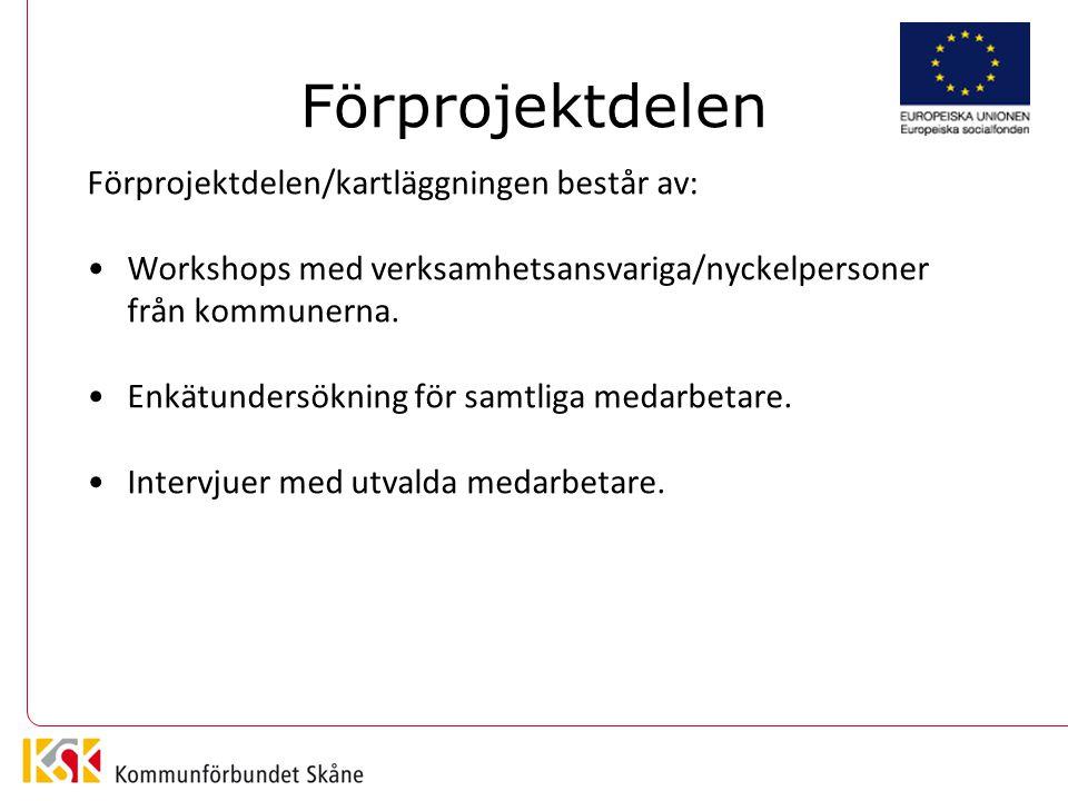 Förprojektdelen Förprojektdelen/kartläggningen består av: Workshops med verksamhetsansvariga/nyckelpersoner från kommunerna.