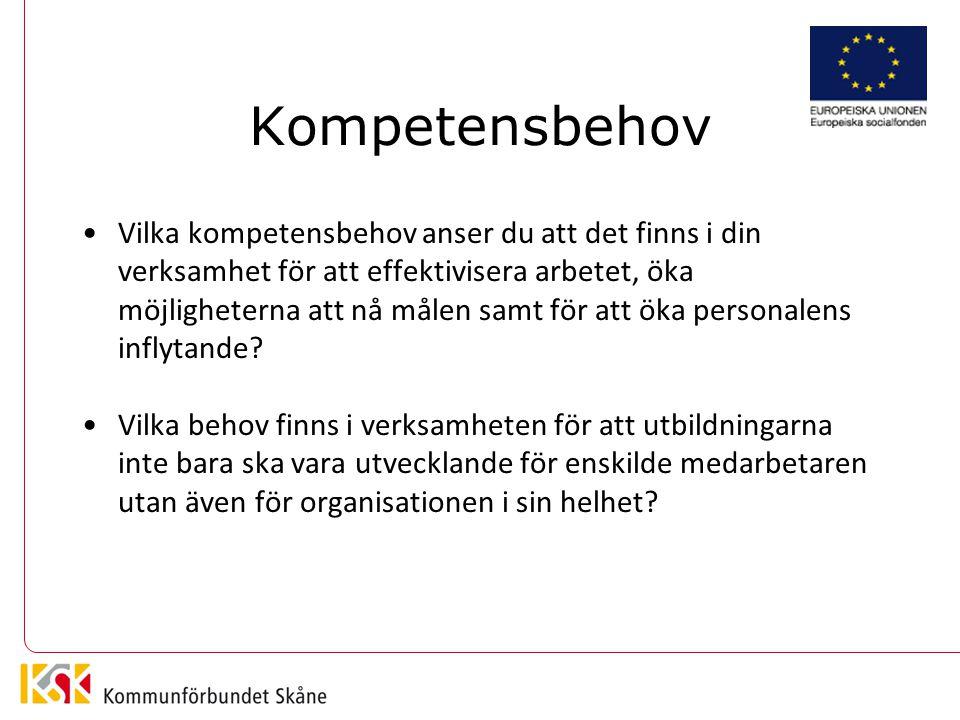 Kompetensbehov Vilka kompetensbehov anser du att det finns i din verksamhet för att effektivisera arbetet, öka möjligheterna att nå målen samt för att öka personalens inflytande.