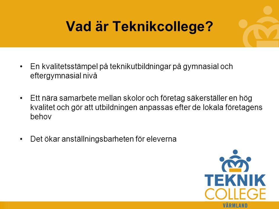 TEKNIKCOLLEGE Vad är Teknikcollege? En kvalitetsstämpel på teknikutbildningar på gymnasial och eftergymnasial nivå Ett nära samarbete mellan skolor oc