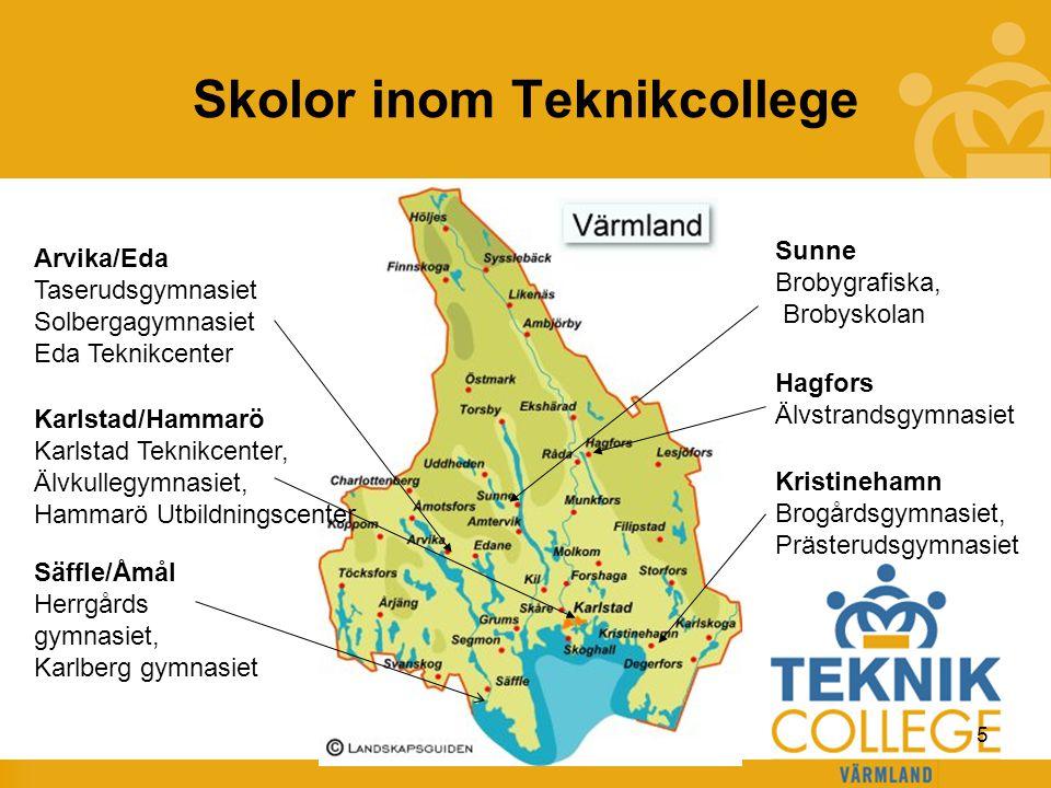 TEKNIKCOLLEGE Skolor inom Teknikcollege Kristinehamn Brogårdsgymnasiet, Prästerudsgymnasiet Karlstad/Hammarö Karlstad Teknikcenter, Älvkullegymnasiet,