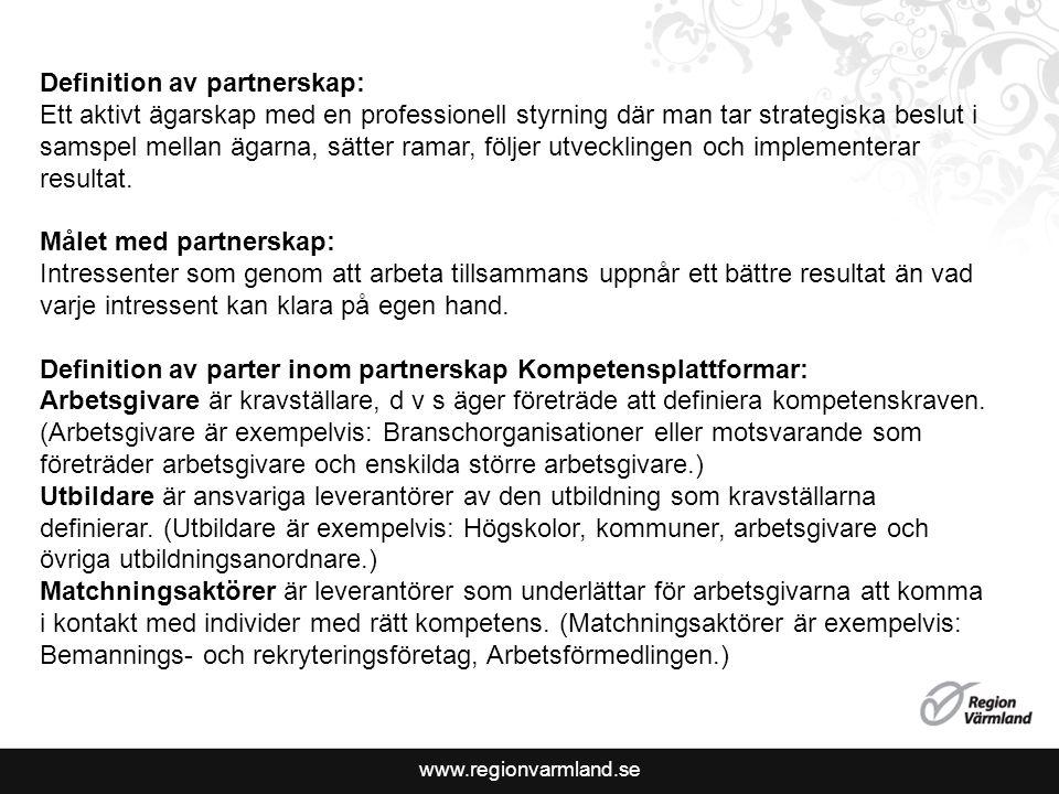 www.regionvarmland.se Definition av partnerskap: Ett aktivt ägarskap med en professionell styrning där man tar strategiska beslut i samspel mellan ägarna, sätter ramar, följer utvecklingen och implementerar resultat.