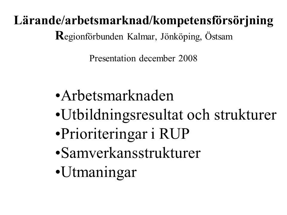 Lärande/arbetsmarknad/kompetensförsörjning R egionförbunden Kalmar, Jönköping, Östsam Presentation december 2008 Arbetsmarknaden Utbildningsresultat och strukturer Prioriteringar i RUP Samverkansstrukturer Utmaningar