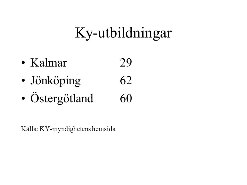 Ky-utbildningar Kalmar29 Jönköping62 Östergötland60 Källa: KY-myndighetens hemsida