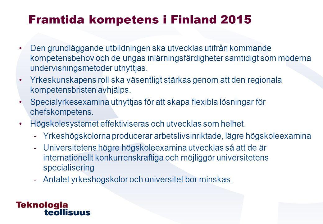 Framtida kompetens i Finland 2015 Den grundläggande utbildningen ska utvecklas utifrån kommande kompetensbehov och de ungas inlärningsfärdigheter samtidigt som moderna undervisningsmetoder utnyttjas.