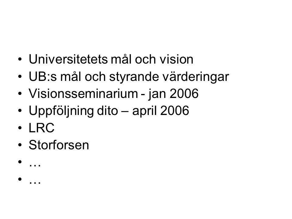 Universitetets mål och vision UB:s mål och styrande värderingar Visionsseminarium - jan 2006 Uppföljning dito – april 2006 LRC Storforsen …