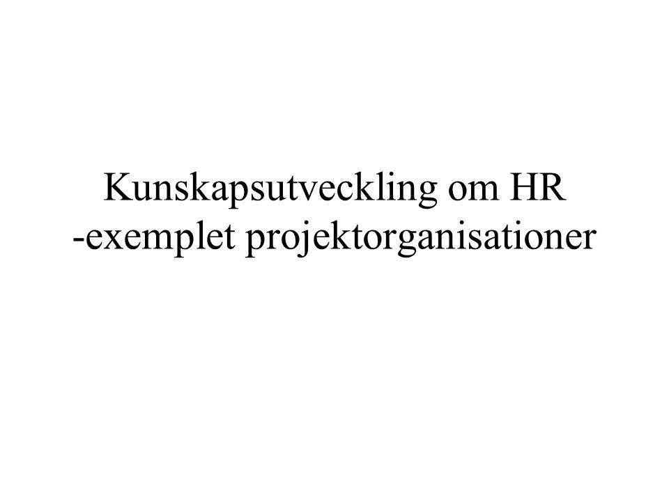 Kunskapsutveckling om HR -exemplet projektorganisationer