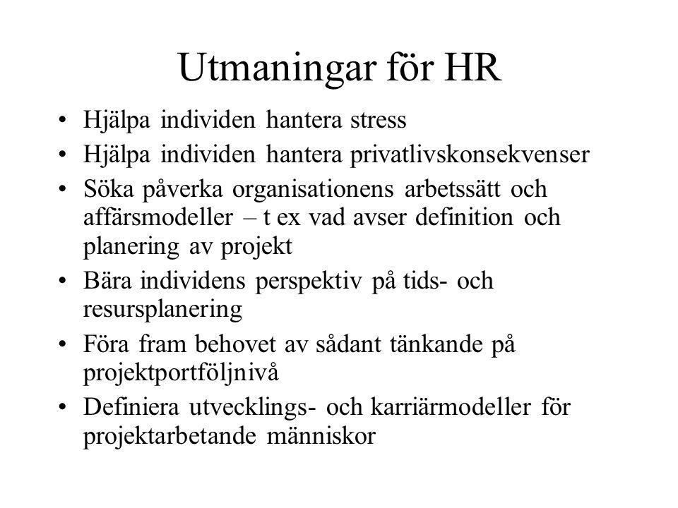 Utmaningar för HR Hjälpa individen hantera stress Hjälpa individen hantera privatlivskonsekvenser Söka påverka organisationens arbetssätt och affärsmo