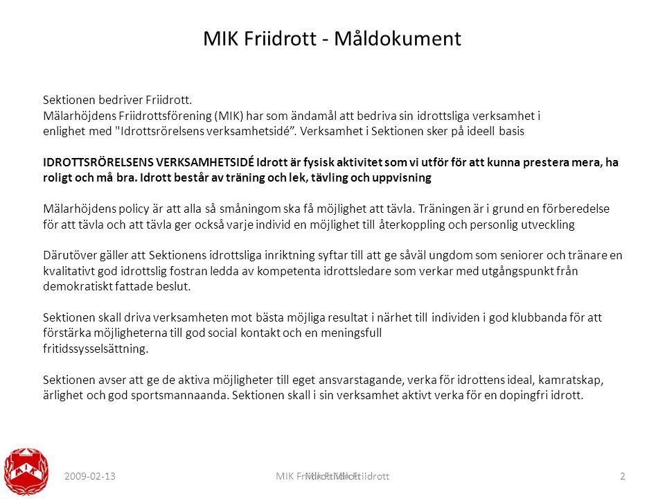 2009-02-13MIK FriidrottMik FriidrottMik Friidrott2 MIK Friidrott - Måldokument Sektionen bedriver Friidrott.