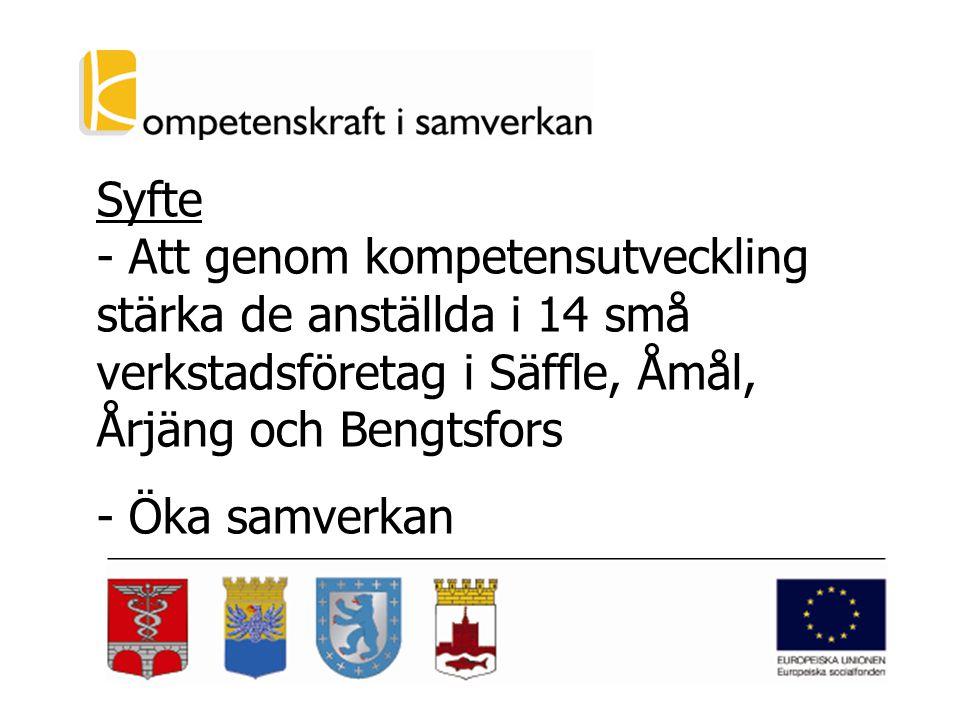 Syfte - Att genom kompetensutveckling stärka de anställda i 14 små verkstadsföretag i Säffle, Åmål, Årjäng och Bengtsfors - Öka samverkan