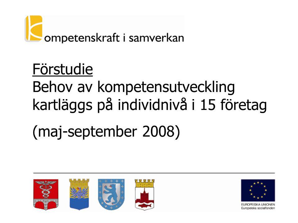 Förstudie Behov av kompetensutveckling kartläggs på individnivå i 15 företag (maj-september 2008)