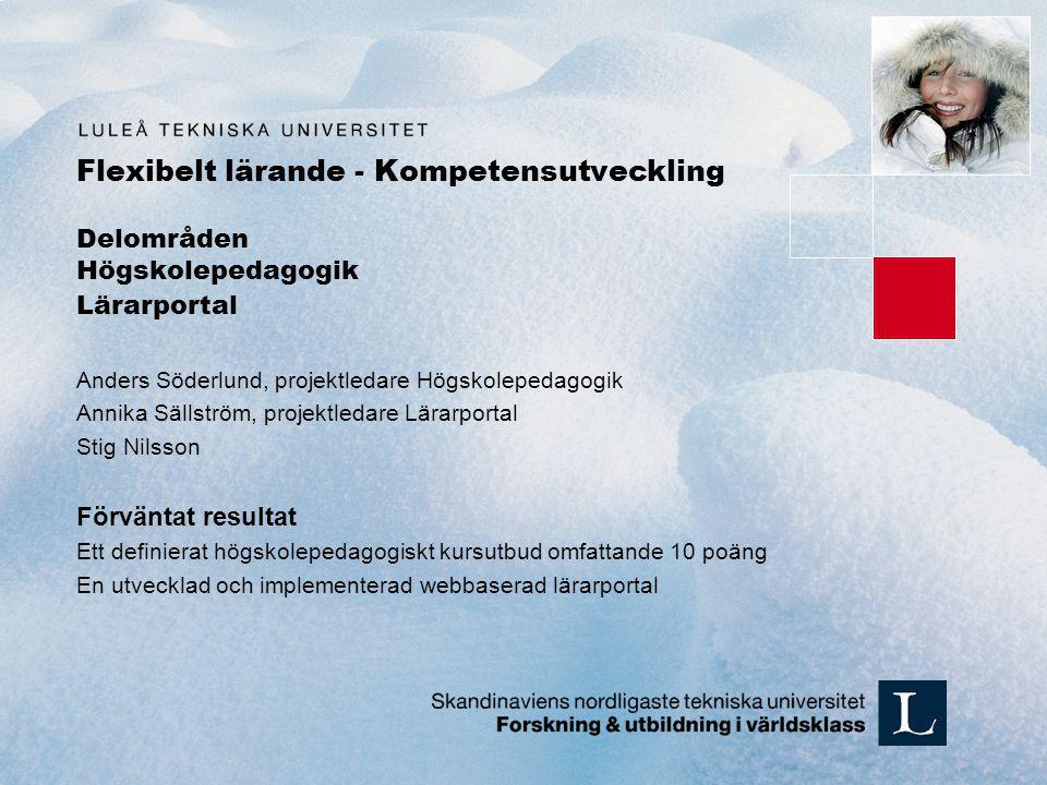 Flexibelt lärande - Kompetensutveckling Delområden Högskolepedagogik Lärarportal Anders Söderlund, projektledare Högskolepedagogik Annika Sällström, p