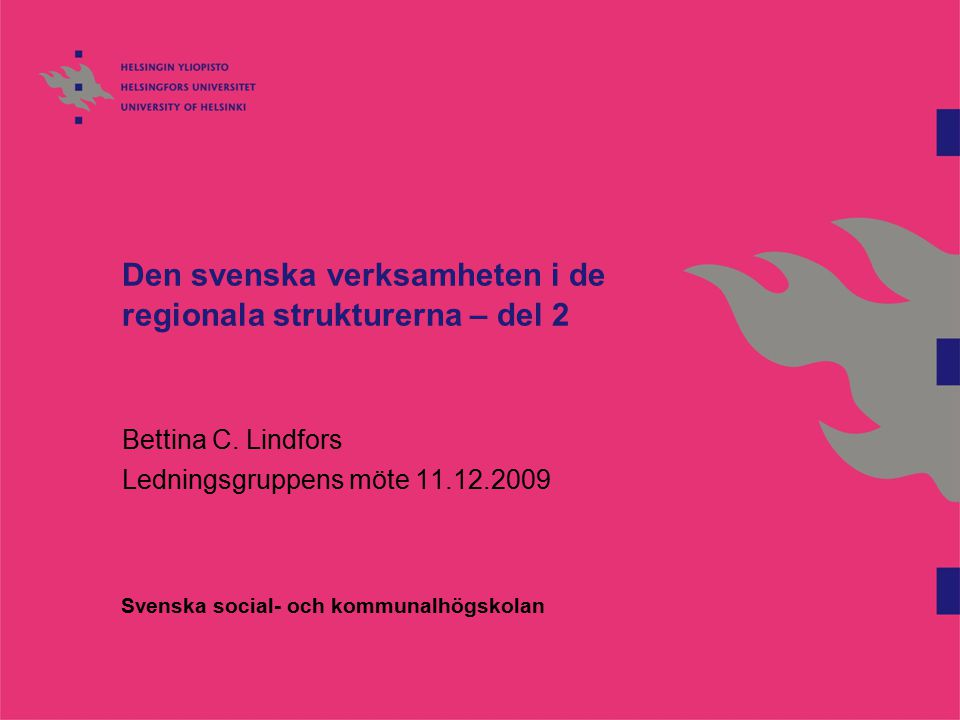Den svenska verksamheten i de regionala strukturerna – del 2 Bettina C.