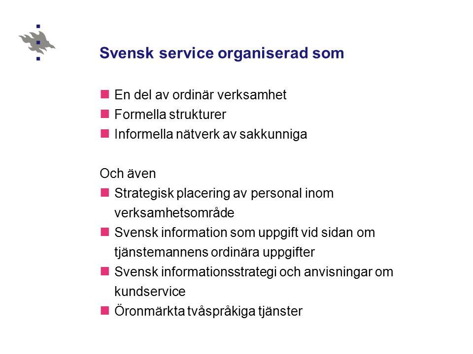 Arbetsmiljö Dominerande arbetsspråk finska – genuint tvåspråkiga arbetsmiljöer är Österbottens och Östra Nylands förbund, svenska sektionerna vid länsstyrelserna, ansvarsområdet för landsbygd och energi vid TE-centralerna I södra Finland betraktas svenskan som ett minoritetsspråk bland flera andra – flerspråkighet Landskapsförbunden Språkmålen satta oberoende vem som sitter i makten…de är satta för att medborgaren ska få den service de har rätt till .