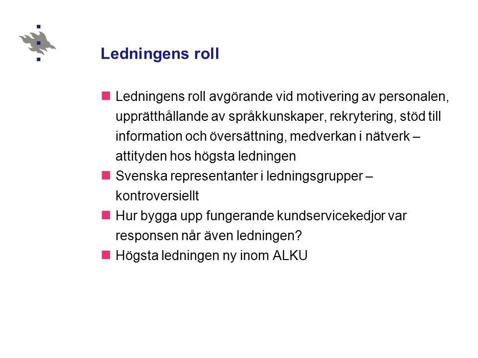 Information & översättning Hälften av myndigheterna saknar svenska informatörer, ofta en del av tjänstemännens arbetsbild eller informell informationsgrupp - svenska nätverk Webben uppfattas som framtida språkliga informationskanal – hur trygga resurser för kundservice & fortsatt tvåspråkig arbetsmiljö.