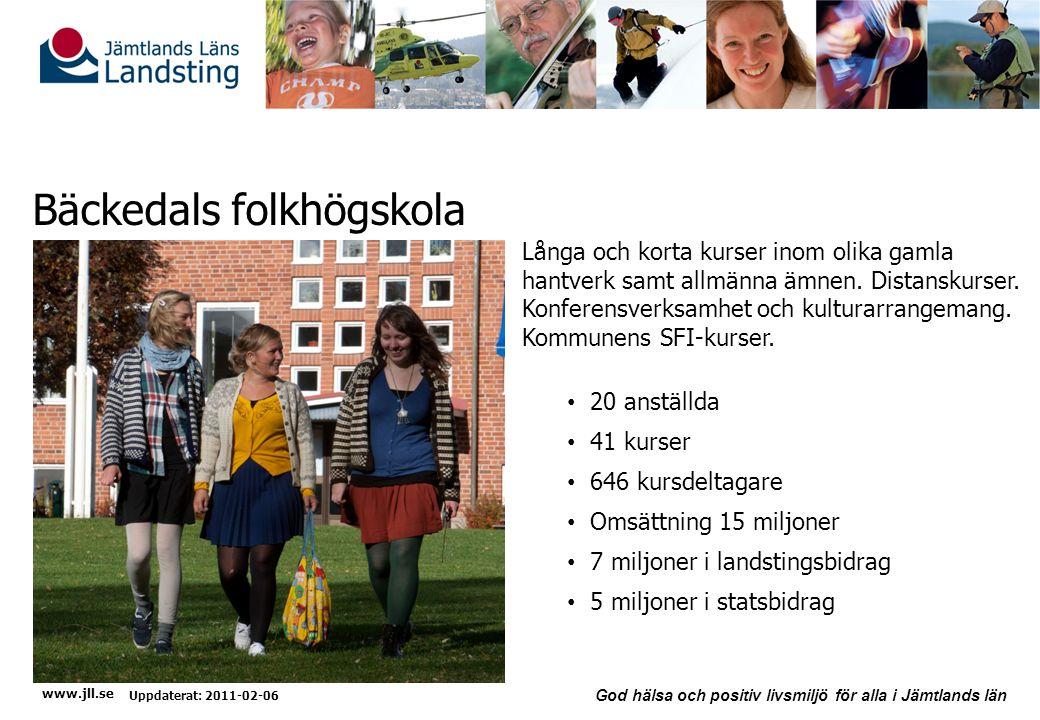 www.jll.se God hälsa och positiv livsmiljö för alla i Jämtlands län Bäckedals folkhögskola Uppdaterat: 2011-02-06 Långa och korta kurser inom olika gamla hantverk samt allmänna ämnen.