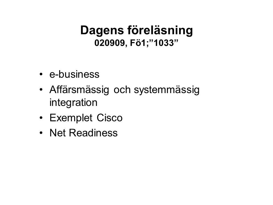 """Dagens föreläsning 020909, Fö1;""""1033"""" e-business Affärsmässig och systemmässig integration Exemplet Cisco Net Readiness"""