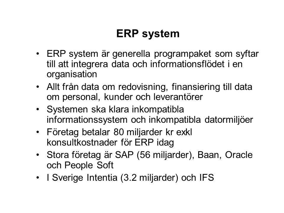 ERP system ERP system är generella programpaket som syftar till att integrera data och informationsflödet i en organisation Allt från data om redovisn