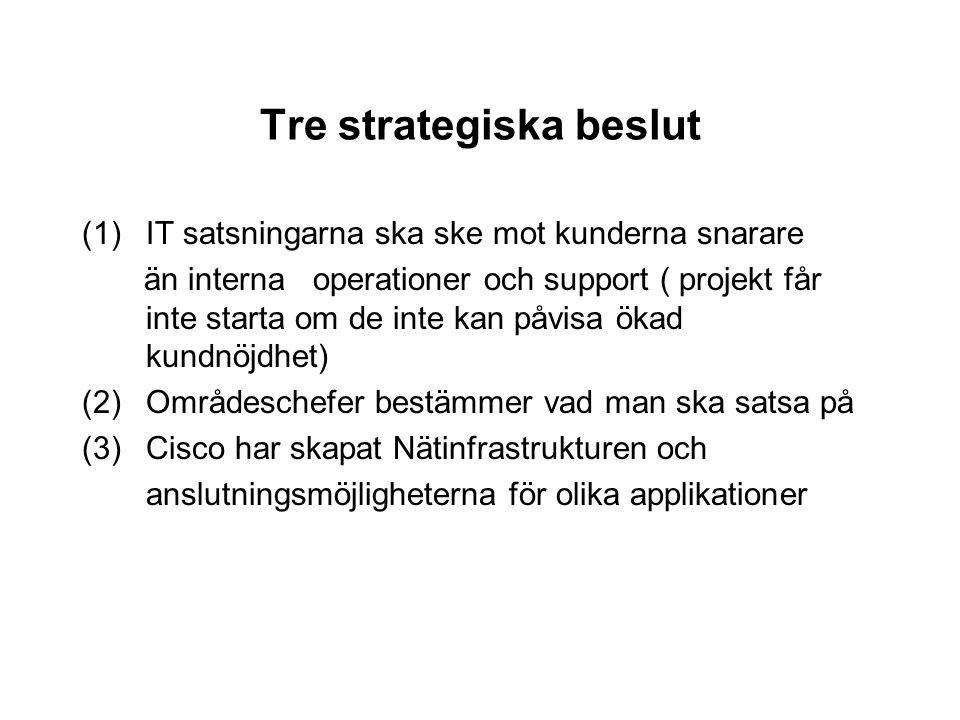 Tre strategiska beslut (1)IT satsningarna ska ske mot kunderna snarare än interna operationer och support ( projekt får inte starta om de inte kan påv