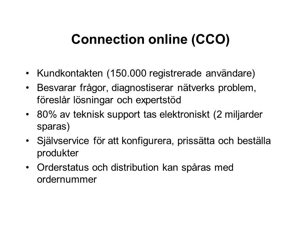 Connection online (CCO) Kundkontakten (150.000 registrerade användare) Besvarar frågor, diagnostiserar nätverks problem, föreslår lösningar och expert