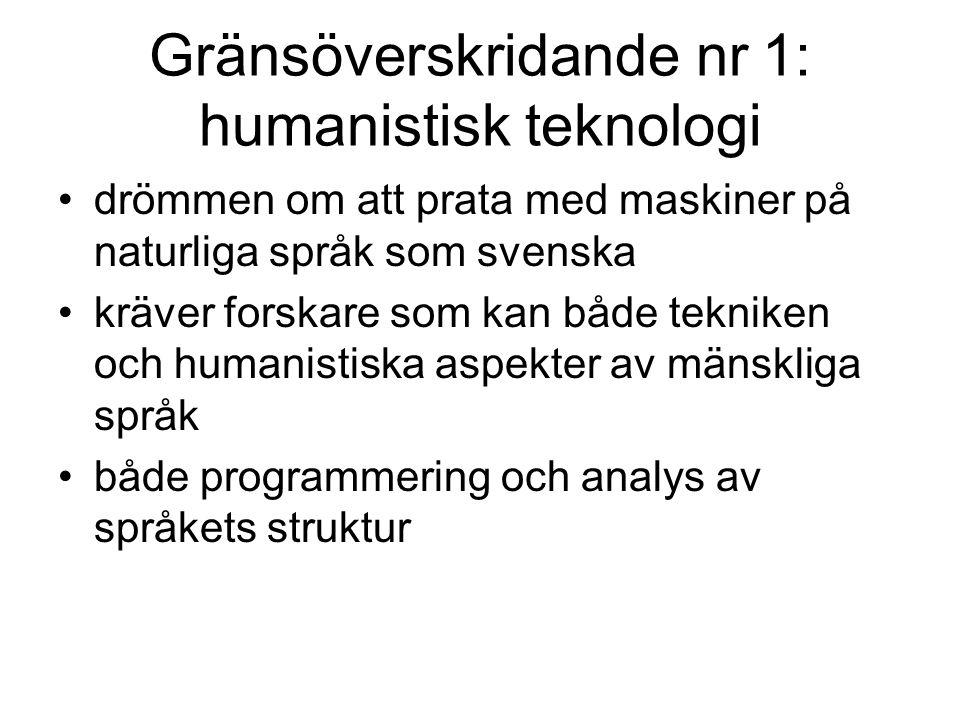 Gränsen humaniora teknik i informationssamhället gränsen mellan fakulteter/universitet man behöver ha teknisk kunskap att vara humanist idag tekniker inom informationsindustri behöver ta hänsyn till humanistiska aspekter gränsen humaniora teknik håller på syddas bort?