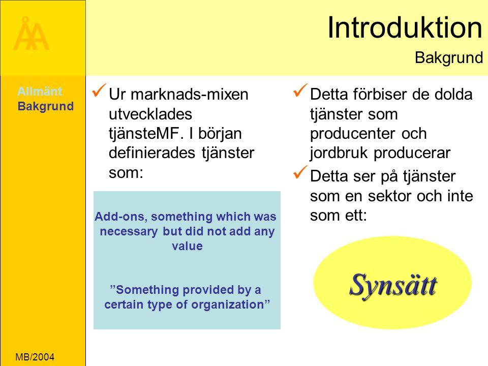 ÅA MB/2004 Introduktion Bakgrund Ur marknads-mixen utvecklades tjänsteMF.