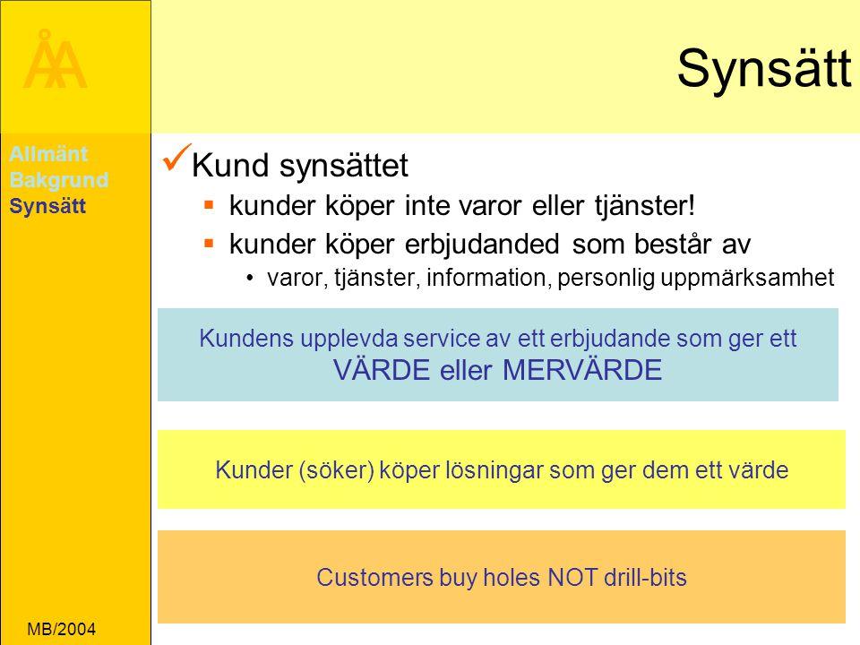 ÅA MB/2004 Synsätt Kund synsättet  kunder köper inte varor eller tjänster.