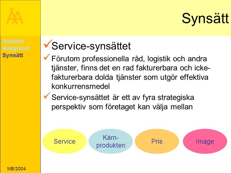 ÅA MB/2004 Synsätt Service-synsättet Förutom professionella råd, logistik och andra tjänster, finns det en rad fakturerbara och icke- fakturerbara dolda tjänster som utgör effektiva konkurrensmedel Service-synsättet är ett av fyra strategiska perspektiv som företaget kan välja mellan Allmänt Bakgrund Synsätt Service Kärn- produkten PrisImage