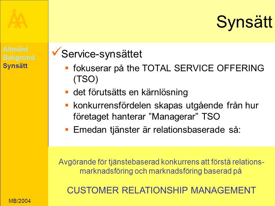 ÅA MB/2004 Synsätt Service-synsättet  fokuserar på the TOTAL SERVICE OFFERING (TSO)  det förutsätts en kärnlösning  konkurrensfördelen skapas utgående från hur företaget hanterar Managerar TSO  Emedan tjänster är relationsbaserade så: Allmänt Bakgrund Synsätt Avgörande för tjänstebaserad konkurrens att förstå relations- marknadsföring och marknadsföring baserad på CUSTOMER RELATIONSHIP MANAGEMENT