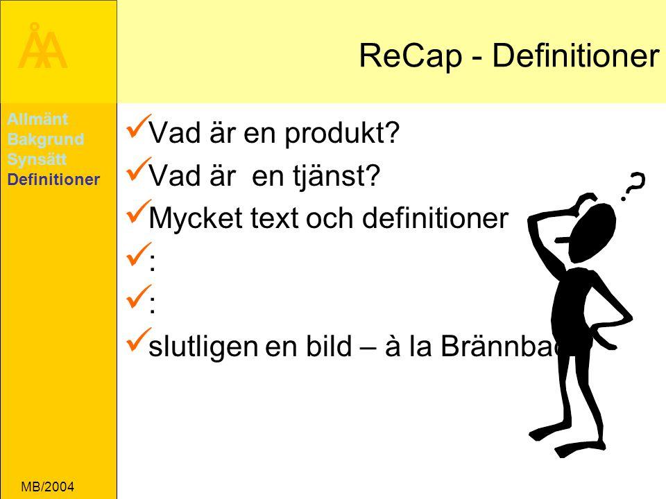 ÅA MB/2004 ReCap - Definitioner Vad är en produkt.