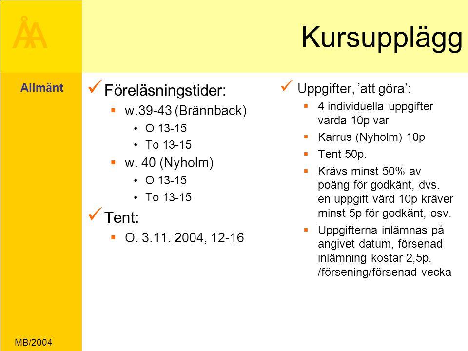 ÅA MB/2004 Kursupplägg Föreläsningstider:  w.39-43 (Brännback) O 13-15 To 13-15  w.
